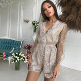 Tobinoone V Neck Playsuits Sparkly Bodysuit Sexy Ladies Overalls Sequin Women Playsuit Short Jumpsuit Rompers Elegant Jumpsuits - thefashionique