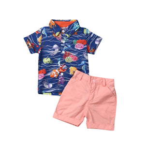 Toddler Boy Clothes 2019 Summer Newborn Kid Baby Boy Sea Animal Tops Shirt Short Pants 2Pcs Outfit Set - thefashionique