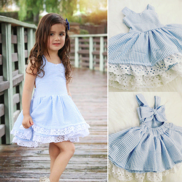 Toddler Kids Baby Girls Clothes Lace Dress Princess Party Pageant Wedding Tutu Dress Clothes - thefashionique