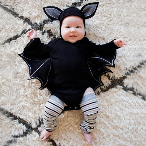 Toddler Newborn Baby Boys Girls Halloween Cotton Batwing Sleeve Character Cosplay Costume Romper Hat Outfits Set Baby set 30
