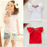 Toddler girls t shirts little girls Floral Collar T-shirts Baby Girls Short Sleeve Tops Cute T Shirts 0-2Y - thefashionique