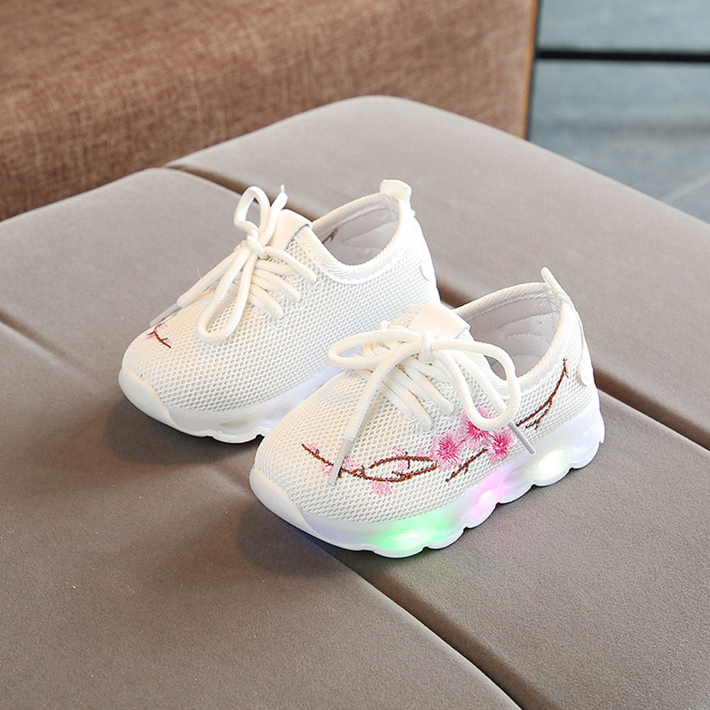 Toddlers Baby Girls Embroidery Flower LED Luminous Sport Shoes for Children Kids Running  glowing sneakers #XTN - thefashionique