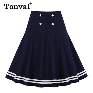 Tonval Navy Blue Button Front Tape Striped Hem A Line Vintage Skirts Womens High Waist Knee-Length Preppy Skater Skirt