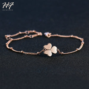 Top Quality Elegant Clover Bracelets for Women Rose Gold Color Brass Chain Bangles Fashion Jewelry For Girl Wholesale H142 - thefashionique