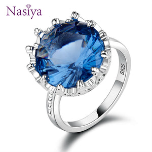 Top Quality Natural Blue Sapphire Rings For Women Silver 925 Sterling Jewelry Ring Wedding Engagement Party Gift Size 6 7 8 9 10 - thefashionique