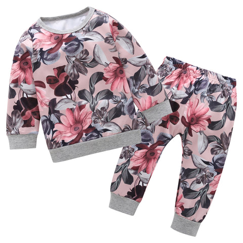 Top T shirt+ Long Pants Floral print 2pcs/set Outfits baby girl Clothes Infant Newborn clothes Baby Girls Clothing set outfits