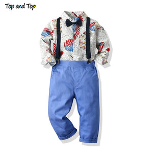 Top and Top Hawaiian Toddler Boy Gentleman Clothing Set Long Sleeve Printed Bowtie Tops+Suspender Trousers Infant Formal Suit - thefashionique