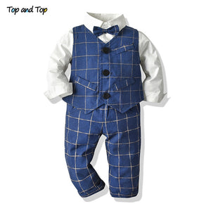 Top and Top Toddler Kids Baby Boy Gentleman Clothes Long Sleeve Bowtie Shirt+Vest+Pant Boys Plaid Outfits Sets for Wedding Party - thefashionique