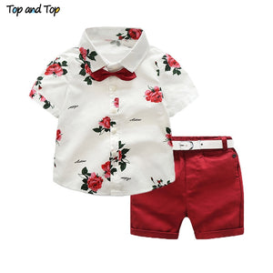 Top and Top boys clothing sets summer gentleman suits short sleeve shirt + shorts 2pcs kids clothes children clothing set - thefashionique