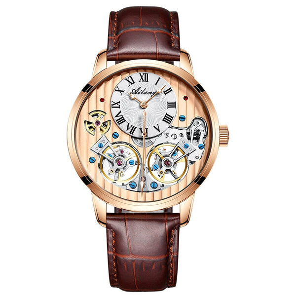 Top luxury brand expensive men's watch automatic mechanical quality watch Roman double tourbillon Swiss watch leather male 2020