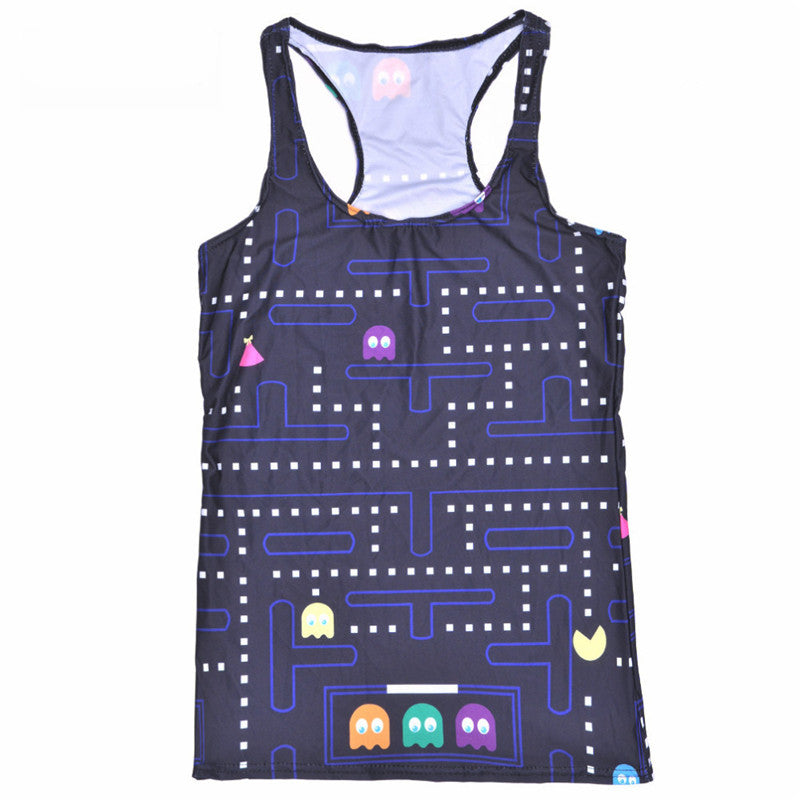Tops Summer Women Blouses Strapless Sleeveless Digital Print Casual Color Eat Peas Game Tank Tops Ladies' Vest - thefashionique