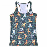 Tops Summer Women Blouses Strapless Sleeveless Digital Print Casual Cute Deer Animal Bunny Tank Tops Ladies' Vest - thefashionique
