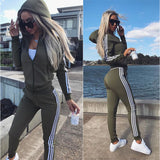 Tracksuit Women Casual Female Set 2018 Spring Autumn Long Sleeve Sweatsuit Womens Hooded Tops and Pants Two Piece Outfit Sets - thefashionique