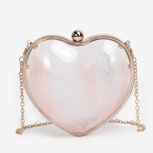 Transparent Acrylic Evening Bags Trendy Heart Shape Clutch Bag Wedding Bride Shoulder Bags Fashion Party Small Clutches Ladies - thefashionique