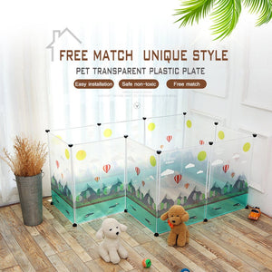 Transparent Dog Beds For Large Dogs Free Assembly Safe Plastic Playpen Dog House Cage Chihuahua Puppy Fence Bull Terrier Pet Bed