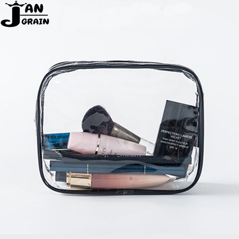 Transparent PVC Cosmetic Bag Women Men Travel Makeup Bag Zipper Make Up Organizer Storage Pouch Toiletry Beauty Wash Kit Case - thefashionique
