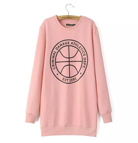 Trendy Ball & Letter Print Pink Long Pullover Sweatshirt New Women's O neck Long Sleeve Casual Jumper Hoodies Sweats Tops - thefashionique