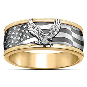 Trendy Cool Eagle Men's Ring Fashion Gold Color Engagement GOLD BLESS AMERICA Rings Wedding Party Jewelry Gifts 2020 New