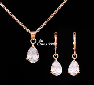 Trendy Free Shipping Wedding Jewelry Sets Necklace Earrings  Rose Gold Color Women Heart Pendant Necklace CZ Crystal - thefashionique