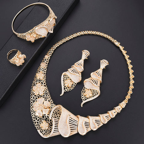Trendy Women Wedding Sets Necklace Earrings Bracelet Ring Full AAA Cubic Zirconia Jewelry Findings dubai gold jewelry sets more - thefashionique