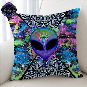 Trippy Alien by Brizbazaar Cushion Cover Watercolor Pillow Case The Third Eye Decorative Throw Pillow Cover Saucerman Home Decor