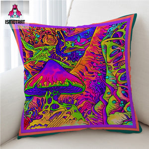 Trippy Art by Ismot Esha Cushion Cover Psychedelic Pillow Case Colorful Mushroom Decorative Pillow Cover Abstract Art Pillowcase