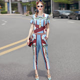 Truevoker Summer Designer Two Piece Set Women's High Quality Blue Abstract Geometry Printed Tee + Pant Suit Clothing Set - thefashionique