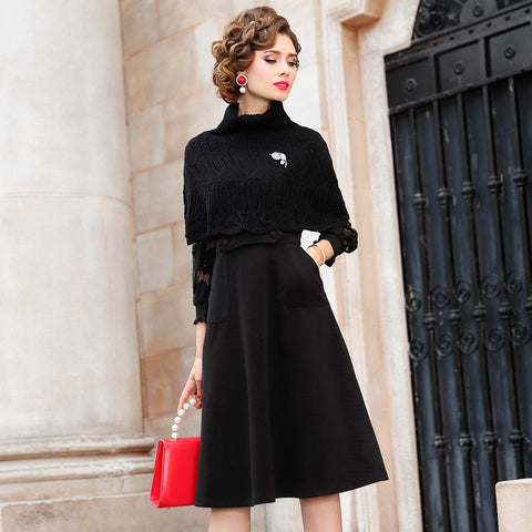 Turtleneck solid dress Spring 2019 new High Street office Long sleeves Women  Christmas Party Dress winter 942ba609f0e1