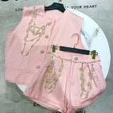 Two Piece Set for Women 2020 Summer New Jane Bead Necklace Chain Wash Denim Jacket + Bead Shorts Two Piece Suit Femme