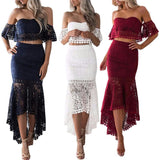 Two piece set Off Women  fashion shoulder Ruffle lace crop tops Mermaid Suit Summer Ankle-Length Dress sexy top suits - thefashionique