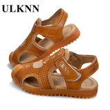 ULKNN Shoes For Children Soft Leather Kids Sandals Baby Beach Sandals Closed Toe Toddler Boys Shoes 2018 Fashion Sport Shoes - thefashionique