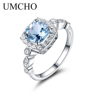 UMCHO  Real S925 Sterling Silver Rings for Women Blue Topaz Ring Gemstone Aquamarine Cushion  Romantic Gift Engagement Jewelry - thefashionique