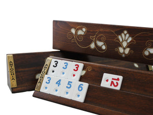 Rummicube Board Game Set Wooden Rummy Handmade Okey Game Gift for Mom Gift for Friend Family Game Rumikube Tiles Turkish Okey