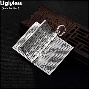 Uglyless Creative Openable Books Pendants Men Women Unisex Religious Buddhism Necklaces NO Chains 925 Silver Heart Sutra Jewelry