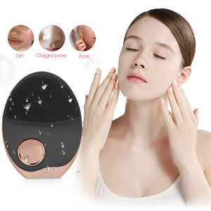 Ultrasonic Facial Cleaning Massage Brush LED Photon Light Pore Cleanser Wireless Charger Silicone Sonic Face Washing Machine 38 - thefashionique