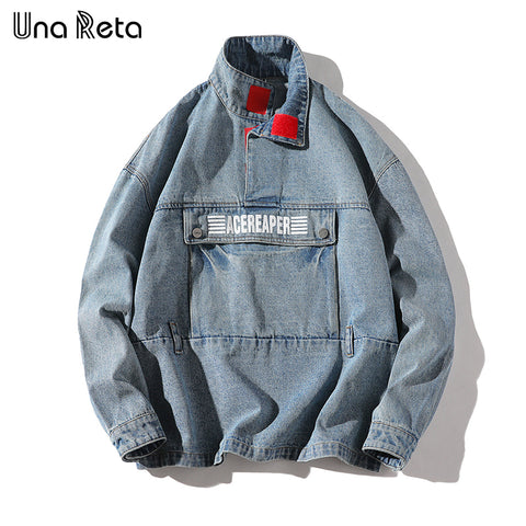 Una Reta Europe High street Denim jacket Men High-quality 2018 Autumn Winter New Hip Hop Pullover jacket Coat Mens