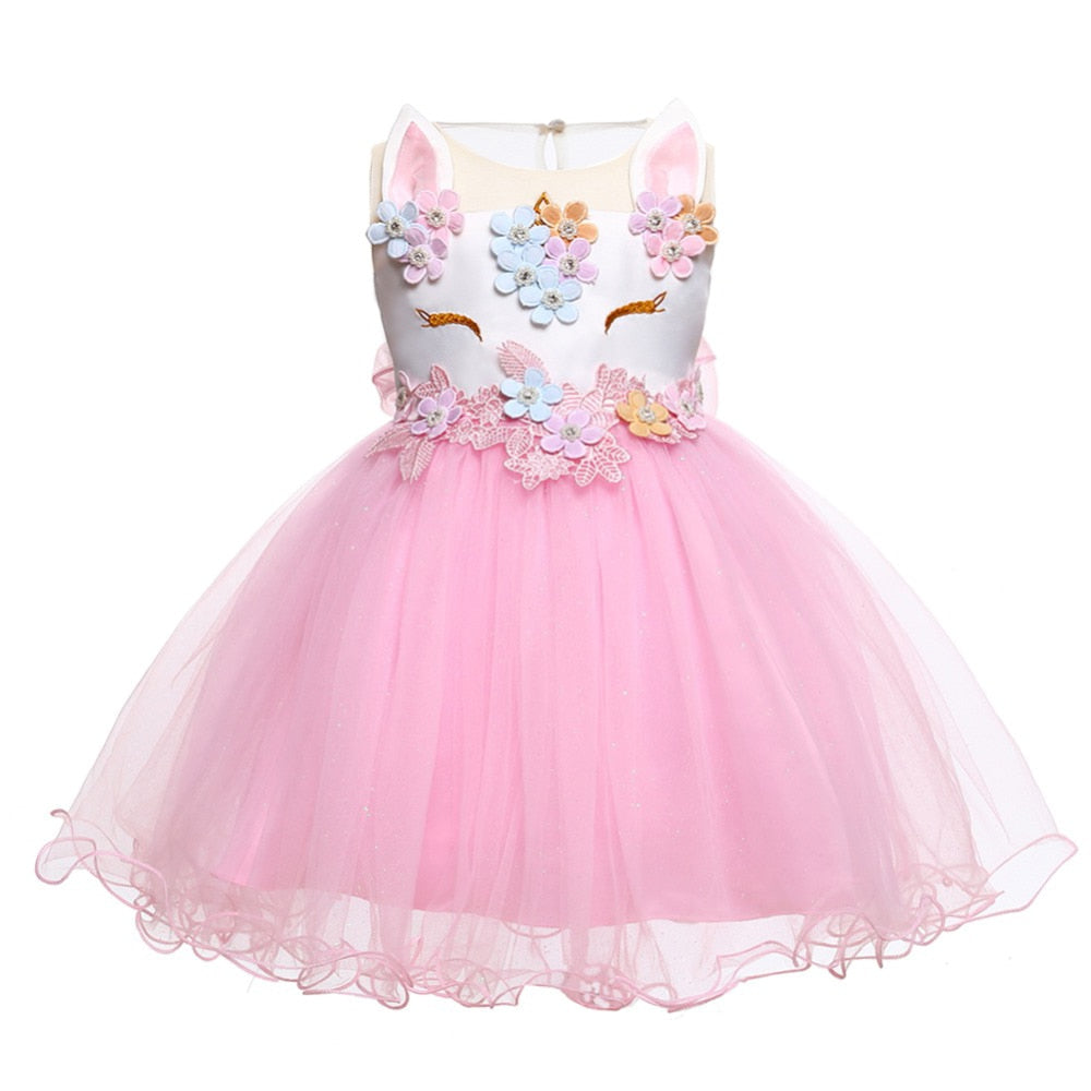 Unicorn Dress Infant Party Dress For Baby Girl 0 1 2 Years Birthday Dress Kids Christening Dress Newborn Christmas Costume 2018 - thefashionique