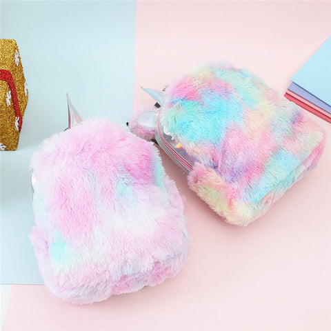 Unicorn Shinning Hologram Plush Backpacks Women Laser Mini Shoulder Bag Kawaii Student Rainbow Fur Backpack with Cute Ear #40 - thefashionique
