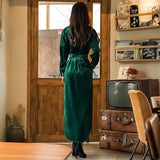 VERRAGEE 2019 Spring winter NEW women maxi Velvet Vintage Shirt Dress with belt pocket fashion green color sexy Long Dress - thefashionique