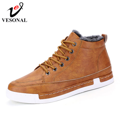 VESONAL PU Leather Martin Boots Male For Men Shoes Adult 2018 Winter Warm Comfortable Short Plush Casual Business Footwear C27