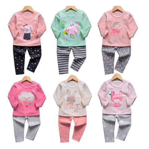 VIDMID girls pajamas clothing sets kids cartoon clothes t-shirts and pants baby girls underwear sets for girl sleepwear 4049 02