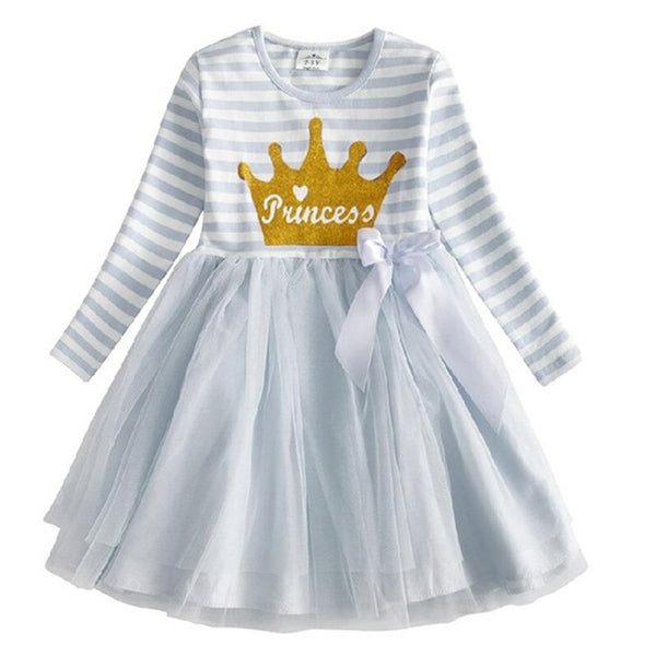VIKITA Girls Tutu Dress Kids Long Sleeve Dress Girls Party Princess Dresses Children Cartoon Print Unicorn Vestidos RELH4593