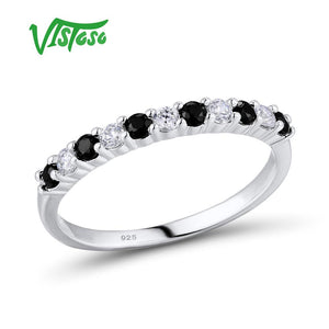 VISTOSO Silver Ring For Women Engagement Wedding Anniversary Dazzling Black Spinel Genuine 100% 925 Sterling Silver Fine Jewelry - thefashionique