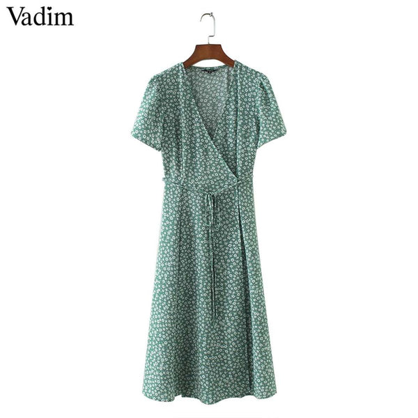Vadim vintage V neck floral pattern midi dress bow tie sashes cross design short sleeve female retro spring vestido mujer QZ3506 - thefashionique