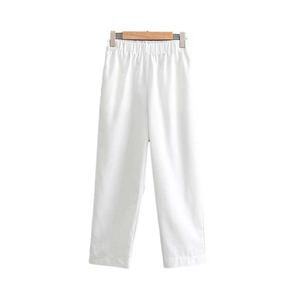 Vadim women basic white pants elastic waist pockets pleated female casual ankle length trousers chic straight pantalones KA699 - thefashionique