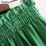 Vadim women chic solid pleated wide leg pant elastic waist drawstring ankle length pants elegant female casual trousers KA869 - thefashionique