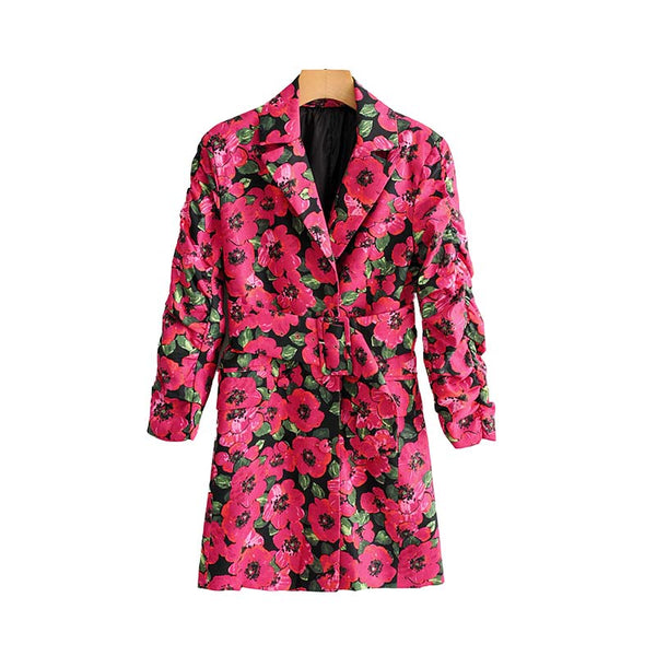 Vadim women floral print blazer single button pockets sashes design female