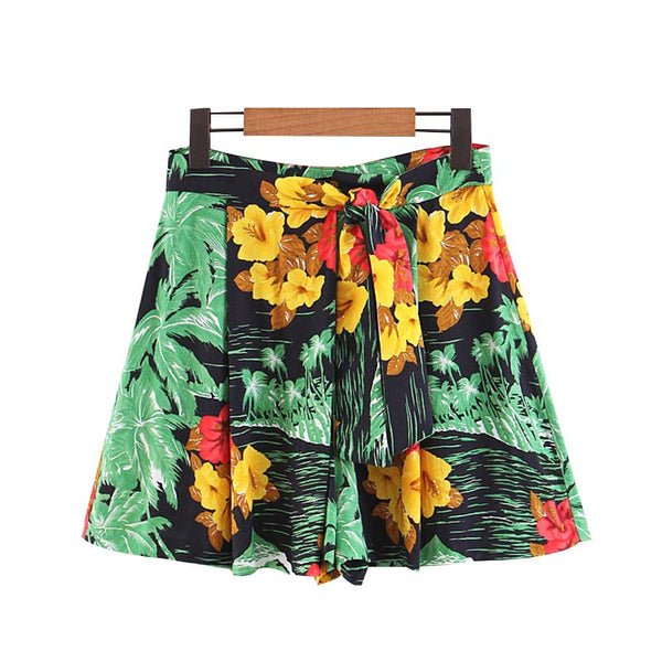 Vadim women stylish floral print shorts waist bow tie pleated female summer beach style casual wear pantalones cortos SA113 - thefashionique