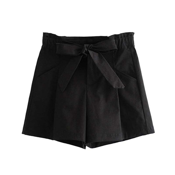 Vadim women stylish solid shorts bow tie sashes elastic waist pockets zipper fly casual female chic shorts panalones SA137 - thefashionique