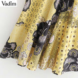 Vadim women vintage print midi skirt side zipper elegant female casual chic irregular mermaid mid calf skirts mujer BA631 - thefashionique